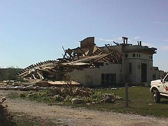 Upper Great Lakes severe weather outbreak of August 23, 1998 - Tornado damage to a structure off of Wisconsin Highway 42.
