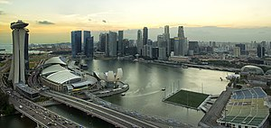 Marina Bay, Singapore - Marina Bay viewed from the Singapore Flyer at sunset