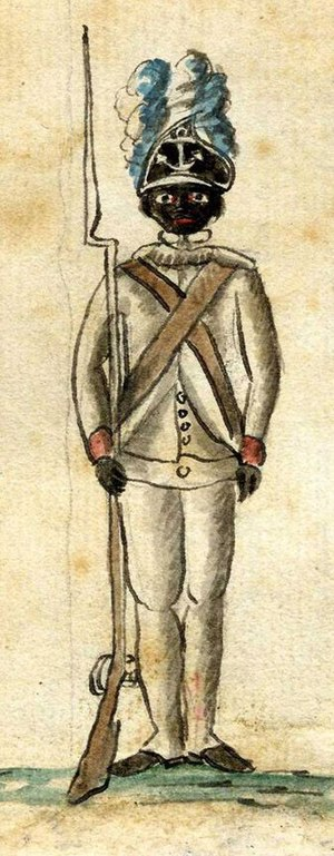 1st Rhode Island Regiment - A 1781 watercolor Drawing, of a black infantryman of the 1st Rhode Island Regiment, of the Continental Army, at Yorktown.  The 1st Rhode Island was one of the few regiments in the Continental Army which had a large number of black Patriot soldiers in its ranks.