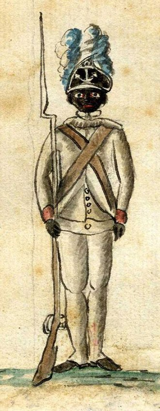 Black Patriot - Enlarged, 1781 drawing, of Black Patriot soldier in the 1st Rhode Island Regiment of the Continental Army