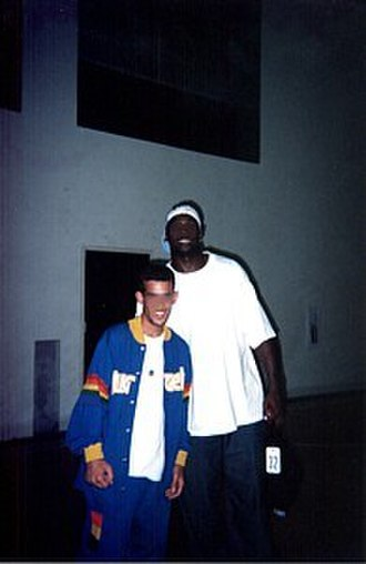 Harold Jamison - Jamison (right) pictured with a fan in 2002