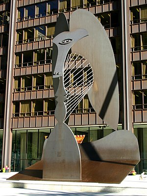 English: Picasso sculpture in Daley Plaza, Chi...