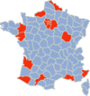 Départements affected by (mostly sporadic) riots as of 5 November.
