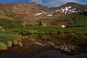 Mount Bierstadt - Reflections of Mt Bierstadt (right) and The Sawtooth (left)