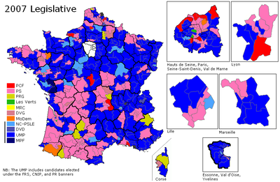 Map showing the results of the second round