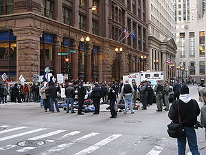 Carbon offset - Chicago Climate Justice activists protesting cap and trade legislation in front of Chicago Climate Exchange building in Chicago Loop