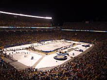 Photograph of the Pittsburgh Penguins and Washington Capitals on the ice before the 2011 NHL Winter Classic in Pittsburgh at Heinz Field