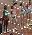 2012 Olympic steeplechase start-Ayalew, Krause, Cruz, Zaripova.JPG