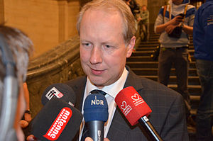 Stefan Schostok - Stefan Schostok on Election Night, 6 October 2013, having been elected Mayor of Hanover. The picture shows him during an interview conducted in the Hanover City Hall.