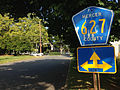 2014-08-30 09 28 45 Unusual directional sign for Mercer County Route 627 on Columbia Avenue in Ewing, New Jersey.JPG