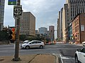2016-07-27 09 10 14 View south along Maryland State Route 2 (Saint Paul Street) at U.S. Route 40 eastbound (Mulberry Street) in Baltimore City, Maryland.jpg