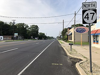 New Jersey Route 47 - View north along Route 47 at Rutgers Drive in Vineland