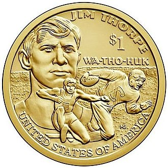 Thorpe is featured on the reverse of the 2018 Sacagawea dollar. 2018 Native American Dollar Reverse.jpg