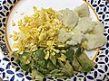 2020-03-10 18 33 58 A plate of scrambled eggs, chopped avocado and ugali in the Franklin Farm section of Oak Hill, Fairfax County, Virginia.jpg