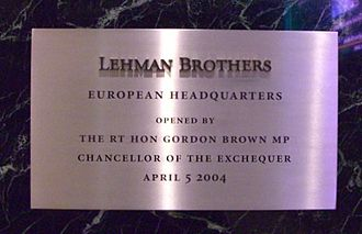 25 Bank Street - Ceremonial plaque from the opening of 25 Bank Street in 2004. Later, in 2010, this would be auctioned by the Lehman administrators for £28,750