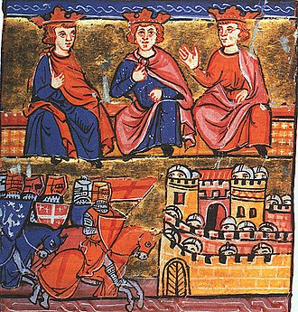 Eleanor of Aquitaine - Second Crusade council: Conrad III of Germany, Eleanor's husband Louis VII of France, and Baldwin III of Jerusalem