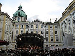 Music of Austria - A band performing traditional music at the Imperial Palace, Innsbruck
