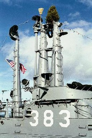 USS Pampanito (SS-383) - Masts and conning tower, with broom and tree, in March 2003