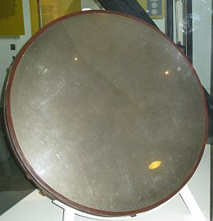 40-foot telescope - The telescope's first mirror on display in the Science Museum, London.