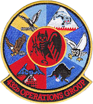 432d Operations Group - 432 OG Gaggle patch.  Gaggle consists of (clockwise from top left): 15th Reconnaissance Squadron, 42d Attack Squadron, 11th Reconnaissance Squadron, 17th Reconnaissance Squadron, 30th Reconnaissance Squadron, 432d Operations Support Squadron and 432d Operations Group (center).