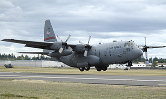 463d Airlift Group - A U.S. Air Force C-130 Hercules from Little Rock, Air Force Base, Ark., lands at McChord Air Force Base, Wash., for Rodeo 2007 on 21 July 2007