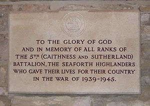 Dornoch Cathedral - Image: 5th Bn Seaforth Highlanders plaque