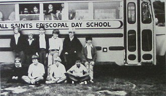 All Saints' Day School - All Saints' Episcopal Day School bus with students 1974