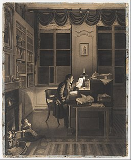 A. L. Leroy - Interior with a Man Reading at His Desk - Google Art Project