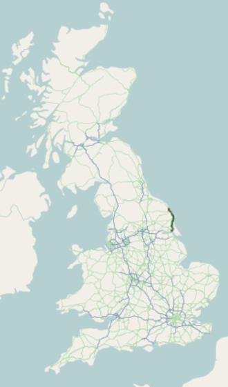A165 road - Image: A165 road map