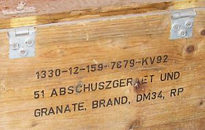 "ß - Capitalisation as SZ on a Bundeswehr crate (ABSCHUSZGERAET for Abschußgerät ""launcher"")"