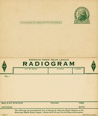 Radiogram (message) - historic ARRL radiogram form