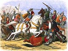 Riccardo III a Bosworth, illustrazione della Chronicle of England (p.453).