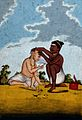 A Malabar barber cutting a customer's hair. Gouache drawing. Wellcome V0045341.jpg