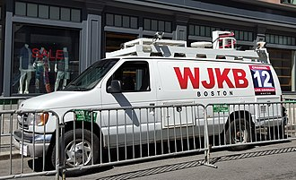 Theatrical property - A television satellite truck prop used in the Patriots Day movie.