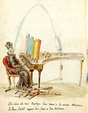 "Louis Bertrand Castel - A caricature of Louis-Bertrand Castel's ""ocular organ"" by Charles Germain de Saint Aubin"