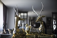 24K Gold Deer Statues with silver details & Swarovski Crystals by D'Argenta