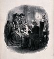 A group of people gathered around an old lady sitting by a s Wellcome V0038690.jpg
