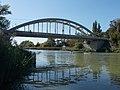 A helyiérdekű vasút hídja és az állva evezők 2019 Dunaharaszti.jpg