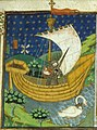 A knight in a boat drawn by a swan (British Library Royal 15 E VI, f 273).jpg