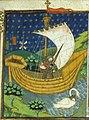 A knight in a boat drawn by a swan (British Library Royal 15 E VI, f 273).jpg