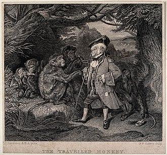 Benjamin Phelps Gibbon - The Travelled Monkey, 1828, Benjamin Phelps Gibbon after Edwin Landseer