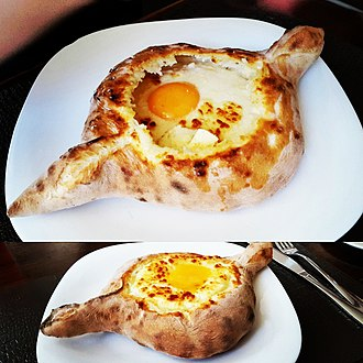 Global cuisine - Adjarian Khachapuri as made in Batumi, region of Adjara, Georgia.