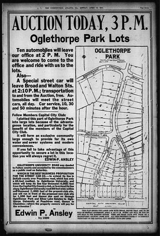 Brookhaven, Georgia - 1914 ad in Atlanta Constitution, offering Oglethorpe Park lots for sale