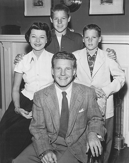 The Nelson family; (clockwise from top) David, Ricky, Ozzie and Harriet, 1952