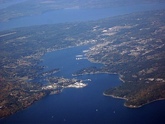 Keyport, Washington - Aerial view of Keyport looking west from Port Orchard Bay