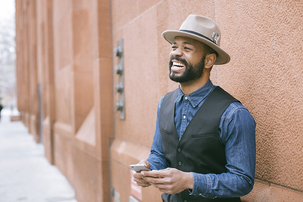 African-American man wearing fedora