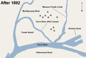 Coode Island - Map of Coode Island after a channel was cut in 1886, diverting the flow of the Yarra River, creating Coode Island.