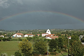 A rainbow above the village