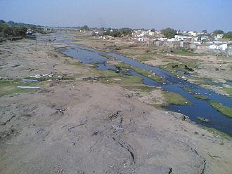 Aji River (Gujarat) - View of river basin from railway bridge at Rajkot