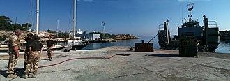 Royal Navy Cyprus Squadron - Akrotiri mole, where the squadron was based.